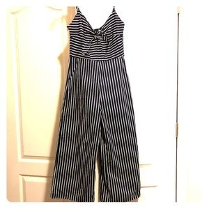 Navy and white striped cropped jumpsuit